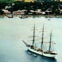 Vintage 1968 Roadstead Frederiksted Postcard St Croix Virgin Islands Sailboat