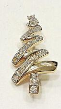 Vintage Classic Zig Zag Monet Christmas Tree Brooch Pin with Rhinestones