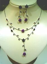 "Gorgeous Rose Necklace Earring Set, Gold, Purple, Red, 15.5"" L Ext. to 18.5"" L"