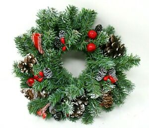 Christmas Wreath Pine Cones Red Berries artificial 10 inch