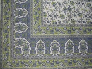 """Turkish Floral Tapestry Cotton Spread 106"""" x 70"""" Twin Blue"""