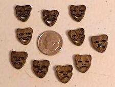"Lot of 10 LAUGH NOW CRY LATER 2-hole Coconut Shell Buttons 9/16"" (13mm) (1172/5)"