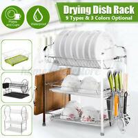 Large Capacity Dish Rack Utensil Holder Drainer Drying Kitchen Storage Stand US