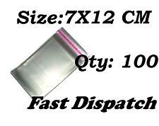 100 di 7 x 12 cm chiaro display VIOLONCELLO SACCHETTI DI CELLOPHANE Autoadesivo Peel & Seal