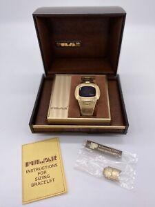Vintage Men's Pulsar LED Digital Watch 14K Gold Filled Flick Wrist