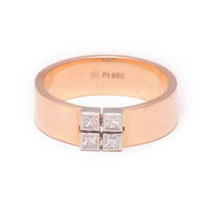 Solid 950 Platinum 0.24 Ct Real Diamond Band For Men 18K Rose Gold Size 9 10 11