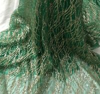 BY THE YARD DIY GORGEOUS DRESS FRONT DESIGN SPARKLE GLITTER MESH LACE