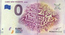 BILLET 0 EURO CABO SAO VICENTE SAGRES PORTUGAL  2019-2  NUMERO  222