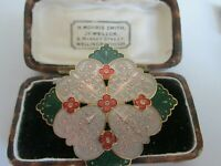 VINTAGE  22CT GOLD PLATED SIGNED CLOISONNE ENAMEL FLOWER BROOCH PIN