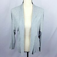 89th & Madison Womens Cardigan Sweater M Gray Thin Knit Fitted Open Front LS