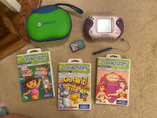 Leap Frog Leapster 2 Learning System Pink Purple, Case and 4 games.