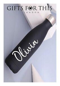 Personalised vacuum flask metal steel water bottle, insulated, black 500ml