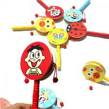 Jingle Bell Maraca Wooden Shaker Handle Rattles Musical Toy Tambourine Ring