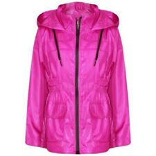 Kids Girls Boys Raincoats Jackets Pink Lightweight Hooded Cagoule Rain Mac 5-1