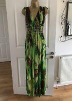 Maxi Dress Size UK 14 16 Green Peacock Feather Summer Beach Womens Lagenlook