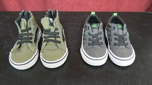 Lot of 2 Vans Off The Wall Baby/Toddler Size 5 Sneakers Green & Gray
