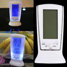 Modern Square LCD Digital Alarm Clock Calender LED Display Battery Powered BEXD