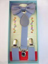 New Baby Toddler Kids Child Light Gray Suspenders Bow Tie Gift Box Set