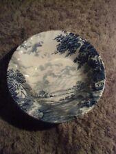 VINTAGE BLUE BROOK STAFFORDSHIRE ENGLAND IRONSTONE HAND ENGRAVED SOUP BOWL