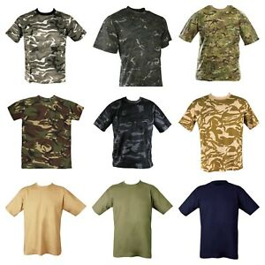 Mens Military Camouflage Camo T Shirt Army Combat Hunting Top Desert MTP DPM UK
