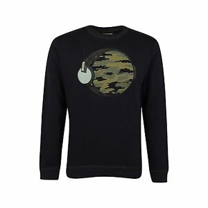 "Mens HUMOR Sweater Jumper ""Rex"" Sweatshirt Music World Earth Top Camo  - NAVY"