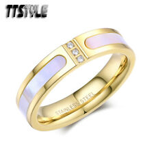 TTStyle 5mm 18K Gold GP Stainless Steel Mother Pearl Wedding Band Ring NEW