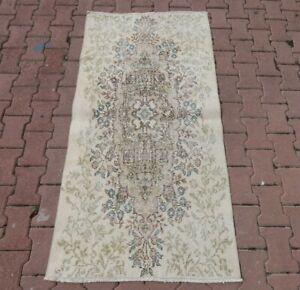 Medallion Design Oushak Beige Carpet Turkish Vintage Oriental Bohemian Rug 3x6ft