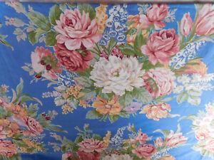 RALPH LAUREN MELISSA BLUE QUEEN FLAT SHEET WHITE FLOWER-100% COTTON-VINTAGE