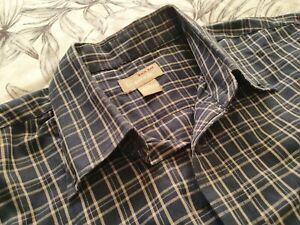Mens Back Bay Heritage XL Long Sleeve Navy Plaid Cotton Shirt