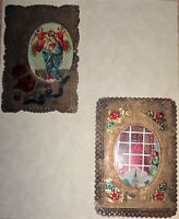 ANTIQUE RELIGIOUS ORNATE BEAUTIFUL FOIL LEAF PRAYER CARDS~MARY~JESUS~ANGELS