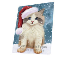 Let it Snow Christmas Ragdoll Kitten Cat Tempered Cutting Board Large Db23