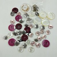 Button Lot Vintage Misc White Red & Silver Round Plastic Buttons Mixed Lot