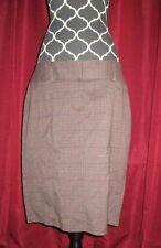 Womens Size 11/12 Studio Y Brown Plaid Pencil Career Skirt Wear To Work EUC