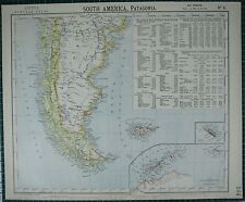 1883 LETTS MAP ~ SOUTH AMERICA PATAGONIA FALKLAND ISLAND EXPORT TRADE CHILE