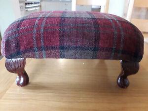 Small Vintage Footstool foot stool Upholstered Tartan