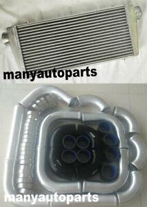 "Front Mount Intercooler 600x300x76mm+3"" aluminium piping+BLACK Silicone Hose kit"