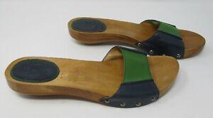Frye size 7.5 (40) 9.5 M US Ellie slide blue & green leather slip on mule sandal