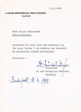 "Hungary President Mátyás Szűrös 1930- typed letter signed 6""x8.5"" autograph"