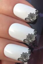 WATER NAIL TRANSFERS BLACK FLOWER LACE NET FRENCH TIP WATER DECALS STICKERS *656