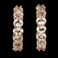 Unheated Oval Pink Morganite 4x3mm Rose Gold Plate 925 Sterling Silver Earrings