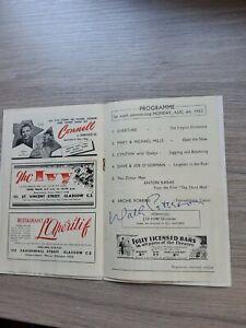 VARIETY THEATRE PROGRAMME 1952,GLASGOW EMPIRE,JOY NICHOLS, WALLY PETERSON SIGNED