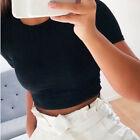 Women Short Sleeve T-Shirt Casual Blouse Bodycon Gym Yoga Sports Crop Tank Top