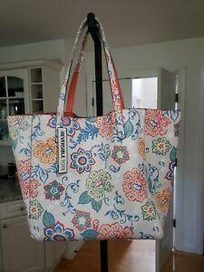 Reversible Large Tote Bag Floral Print Blush Purse. New