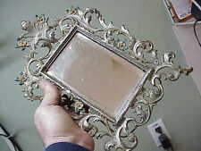 #146 ANTIQUE CAST-IRON PICTURE FRAME BEVELED MIRROR EASEL STAND PAINTED FLOWERS