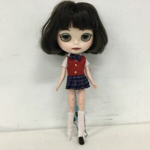 Tomy Neo Blythe Doll Short Brown Hair Plaid Outfit Broken Eye Mechanism #905