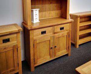 Oakvale Small Sideboard / Solid Wood 2 Drawer 2 Door Side Cabinet / Storage Unit