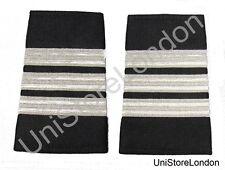 Epaulet Pilot Epaulette Sliders 3 Silver Mylar Bars First Officer Black R1308