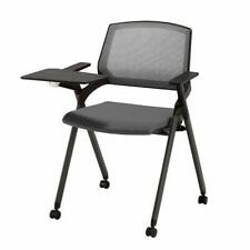 CLATINA Stacking Chair Mesh Guest Nesting with Tablet and Caster Wheel  DarkGray