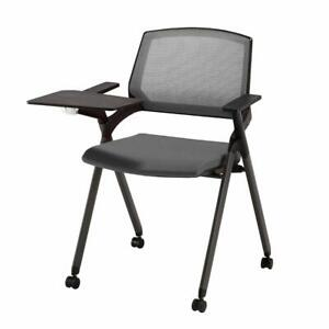 CLATINA Stacking Chair Mesh Guest Nesting with Tablet and Caster Wheel Gray