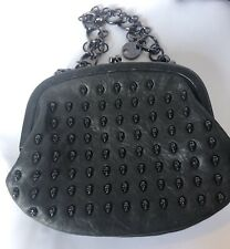 Stunning Thomas Wylde Black Leather Skull Clutch / Handbag